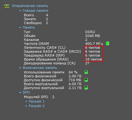 Speccy раздел «Оперативная память»